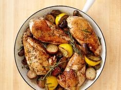 Roast chicken, mushrooms and potatoes in one skillet for a hearty cool-weather supper.