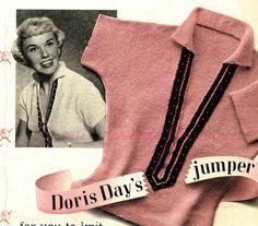Subversive Femme: Doris Day's Jumper for you to knit! c. 1950s