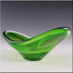 Magnor Norwegian 70's Green Cased Glass Bowl - Signed £29.99