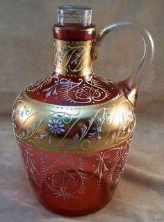 Moser or Bohemian Glass Cranberry Claret Jug w Glass Plug