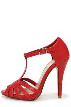 My Delicious Arky Red T Strap Dress Sandals at Lulus.com! Lulus is sold out in my size but I must have these shoessssss!!!!!