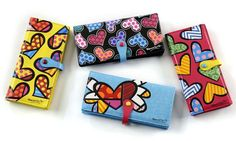 AUTHENTIC ROMERO BRITTO HEARTS LARGE WALLET YOUR CHOICE COLOR