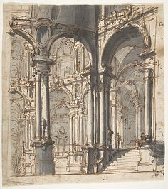 Design for Stage Set Attributed to Giovanni Battista Natali III  (Italian, Pontremoli, Tuscany 1698–1765 Naples)