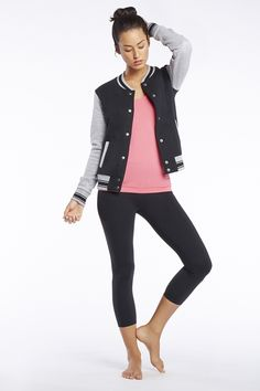 Storm - What a sport! Rock your workout in the varsity-inspired Boston Jacket and seamless, chafe-resistant Oula Tank.