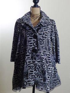 ART TO WEAR Lagenlook Design Todays jacket artsy top black silver quirky sz XL #DesignTodays #BasicJacket #Formal