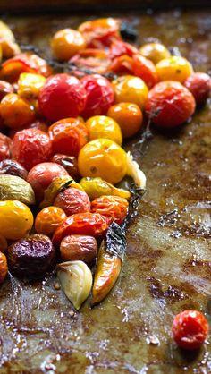 Slow roasted tomatoes with smashed garlic & herbs {paleo, vegan}