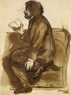 Tennyson reading 'Maud' by Dante Gabriel Rossetti, 1855.