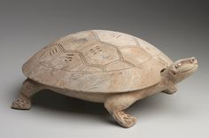 Ink tablet in the form of a turtle ( Han dynasty, 206 BCE - 220 CE) by an unknown Chinese artist. Earthenware with modelled and incised decor including the Eight Trigrams of the I-Ching (The Book of. Ceramic Clay, Ceramic Pottery, Wood Sculpture, Sculptures, Turtle Figurines, I Ching, Ceramic Animals, Effigy, Chinese Culture