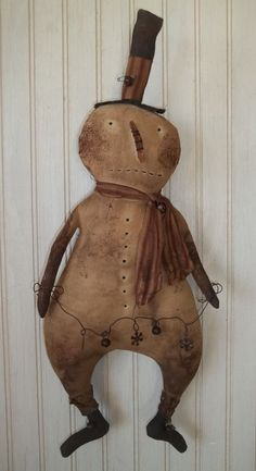 Primitive Grungy Snowman Christmas Doll & Garland of Rusty Bells & Snowflakes #NaivePrimitive