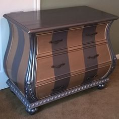 Metallic Stripes with Modern Masters Metallic Paint! Project by Becky of For Love of the Paint.