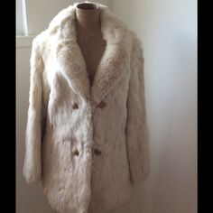 Vintage rabbit fur coat REAL RABBIT FUR.  Vintage coat.  Size not marked.  Size small.  Roomy, fits more like a small/ medium. Vintage Jackets & Coats