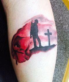 Men's Military Red Cross Poppy Flower Tribute Tattoos
