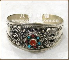 Huge Tibetan Turquoise Red Coral Gemstone Carved Two Large Dorje Cuff Bracelet Bangle Bracelets, Bangles, Red Coral, Turquoise Bracelet, Jewelry Watches, Women Jewelry, Carving, Gemstones, Silver
