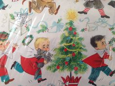 Vintage Christmas Gift Wrapping Paper - Juvenile Christmas Morning - Cats - by Hallmark - 2 Unused Full Sheets in Original Package with Tags