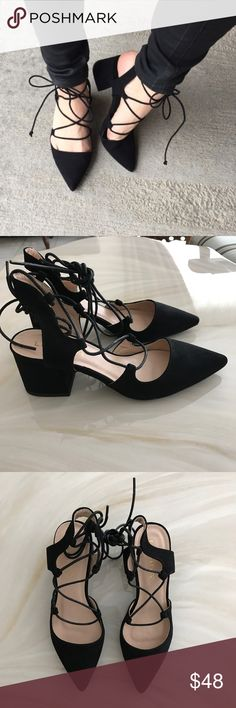 Black tie up block heels Black tie up block heels |  new with box  |  size 7.5  |  not my picture  |  purchased from Forever 21 Forever 21 Shoes Heels