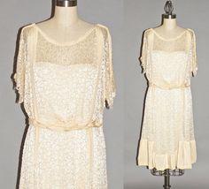 Edwardian 1920s Dress Silk and Lace Bohemian by daisyandstella