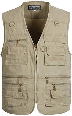 54cc814d93 Alipolo Mens Summer Cotton Leisure Outdoor Plus Size Fishing Vest khaki  X-Large Freshest Fishing Clothing And Gear On The Web!