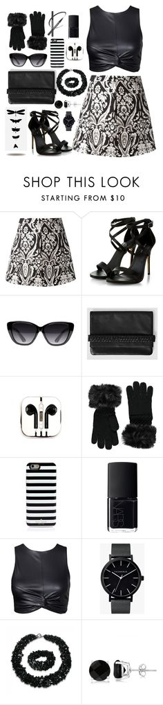 """Black and white"" by juliehalloran ❤ liked on Polyvore featuring Alice + Olivia, Elizabeth and James, AllSaints, PhunkeeTree, Forever 21, Kate Spade, NARS Cosmetics, The Horse, Bling Jewelry and Allurez"
