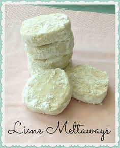 Lime Meltaways~T~ Love these light little cookies. Fresh lime juice and zest with powdered sugar and a little cornstarch make these light and delicious.