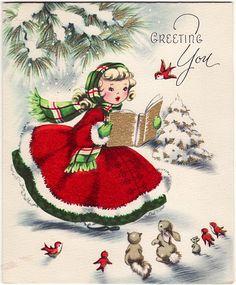 Charmingly sweet vintage Christmas greetings to you. #vintage #Christmas #cards