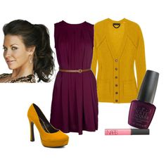 Purple and Yellow! Brilliant, I'm totally doing this with a purple shirt and a yellow cardi with jeans! I love Pintrest!