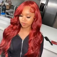 Red Weave Hairstyles, Faux Locs Hairstyles, Baddie Hairstyles, Girly Hairstyles, Birthday Hairstyles, Beautiful Hairstyles, Best Lace Front Wigs, Red Lace Front Wig, Pretty Hair Color