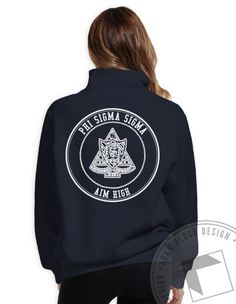 Phi Sigma Sigma - Aim High Crest Half Zip (Navy) by ABD BlockBuy! Available until 10/29, $29-$33 Adam Block Design | Custom Greek Apparel & Sorority Clothes |www.adamblockdesign.com