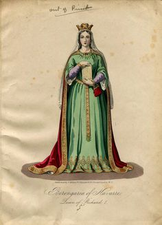 Medieval Queen Richard The First Fashion Plate Hand Coloured Bookplate Color Vintage Print Circa 1800 Hats Dresses Costumes Theater