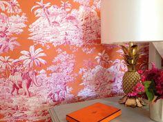 Manuel Canovas close-up Application Pattern, Pineapple Lamp, Wallpaper Online, Spare Room, Design Show, Room Colors, Designer Wallpaper, Bedroom Decor, Master Bedroom