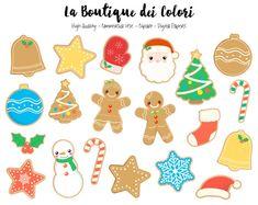 Clipart de biscuits de Noël mignons par LaBoutiqueDeiColori sur Etsy
