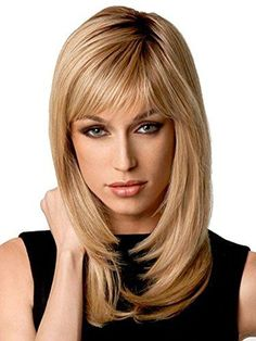 Natural Ombre Blonde Straight Wigs - Auflaund 21 Inch Long Straight Blonde Hair Wigs With Darker Root For Women + Wig Cap Medium Long Hair, Long Layered Hair, Long Hair Cuts, Hair Styles For Women Over 50, Long Hair Styles, Blonde With Dark Roots, Short Bob Wigs, Wigs With Bangs, Popular Haircuts