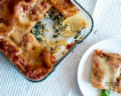 Vegetarian lasagne with lentils, spinach and ricotta