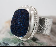 Deep Blue Drusy Ring set into Sterling Silver by SilverSpiral1