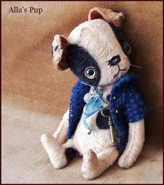"""by Alla Bears TINY 7.5"""" inch original artist ooak Vintage Puppy dog boy collectible handmade toy baby doll. $254.00, via Etsy."""