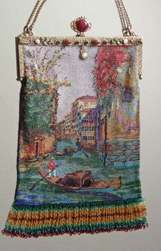 Micro beaded purse Venice canal - collection of Kathy Gunderson