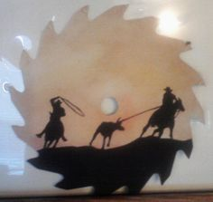 Team Roping saw blade painting, S. M. Wagoner