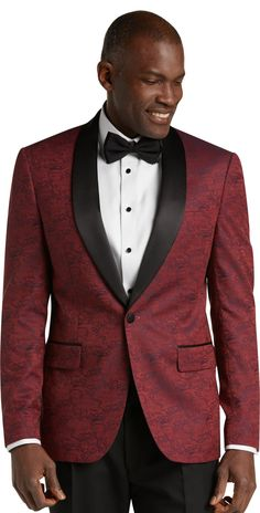 Bank Slim Fit Tonal Floral Formal Dinner Jacket - Big & Tall - New Arrivals Gold Tuxedo Jacket, Red Tuxedo, Tuxedo For Men, African American Men, African Men, Fashion Essentials, Style Essentials, Wedding Men, Wedding Stuff