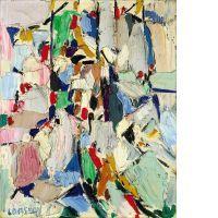 André LANSKOY (1902-1976) ENTIEREMENT GRIS CLAIR Huile sur toile