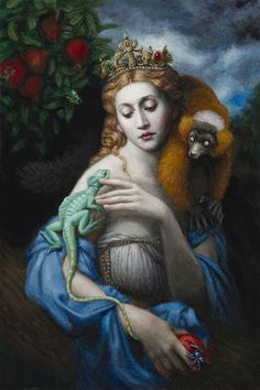"""Saṃsāra"" - Chie Yoshii, oil on board, 2014 {contemporary fantasy art female with animals painting} chieyoshii.com"