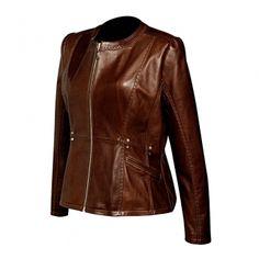 CHAMARRA CUADRA ~ Chamarra de vestir de dama en borrego genuino con cierre metálico al frente y acabado en oro