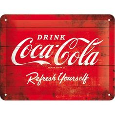 Nostalgic-Art - Coca-Cola Logo Red Refresh Yourself - Blechschild - 15x20cm