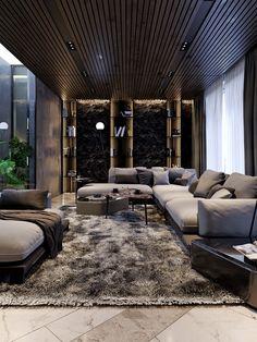 Interior design of privat house in Kyiv Loft Interior, Black Interior Design, Interior Design Kitchen, Modern Interior, Interior Architecture, Loft Design, Modern House Design, Contemporary Design, Design Design