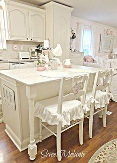 All White Shabby Chic Kitchen.                                                                                                                                                                                 More