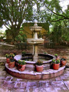 A water fountain at the beautifully restored Hacienda El Carmen, not far from Guadalajara, Jalisco.
