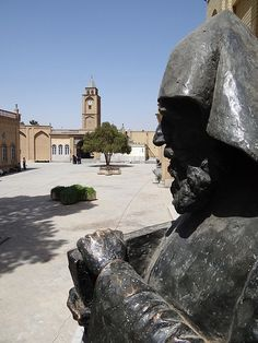 Statue of Armenian Patriarch outside Museum of Vank Cathedral - Jolfa Suburb - Isfahan - Central Iran