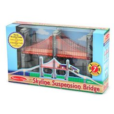 """2 Item Bundle: Melissa & Doug 626 Skyline Suspension Bridge + Free Gift - Fits Thomas Train Tracks by Melissa & Doug. $27.99. Add an exciting new dimension to your child's railway play with this dramatic, solid wood suspension bridge. Your child will delight in watching the train cross the bridge through the see-through cable side panels! The bridge is 14"""" long and the set comes with ascending wooden tracks and track supports.  Fits on Melissa & Doug, Thomas a..."""