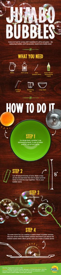 How to make giant bubbles. Fun science experiments for kids to try at home.