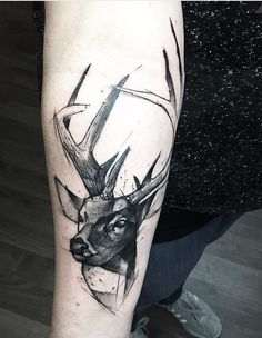 Animal Tattoo Designs – Sketch style stag tattoo by Kamil Mokot… Stag Tattoo Design, Deer Tattoo, Tattoo Designs Men, Tattoo Ink, Arrow Tattoos, Forearm Tattoos, Trendy Tattoos, Tattoos For Guys, Mandala Animal