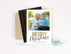 Gold Glitter Merry Christmas Photo Card by Paperelli