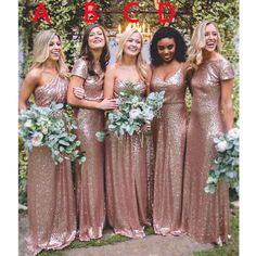 Mismatched Rose Gold Sequin Charming Long Bridesmaid Dresses, BG51567